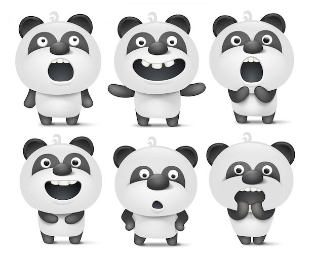 Zestaw znaków panda cute cartoon z różnych emocji Premium Wektorów