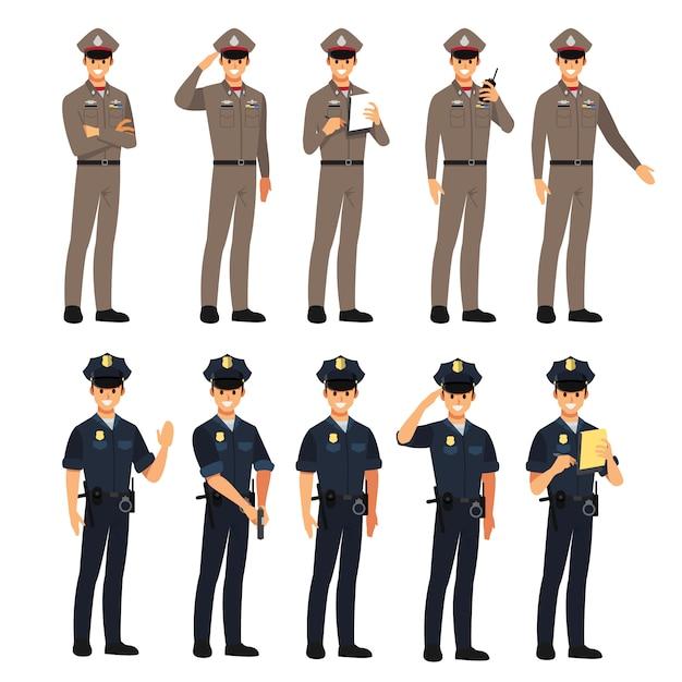 Zestaw Znaków Policji, Ilustracja Kreskówka. Premium Wektorów