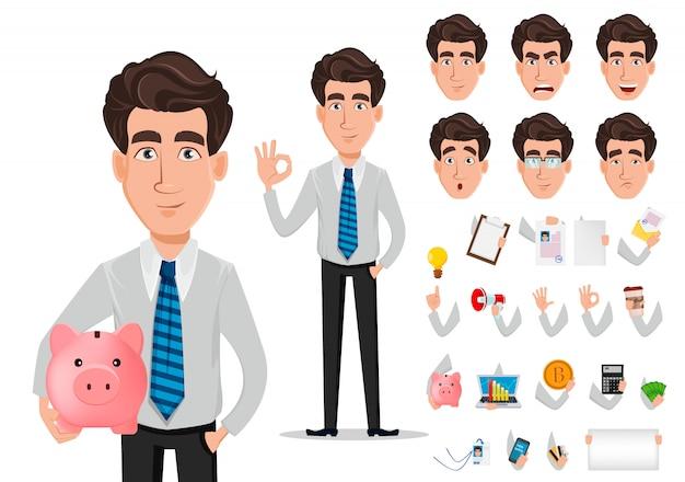 Zestaw Znaków Postać Z Kreskówki Biznesmen Premium Wektorów