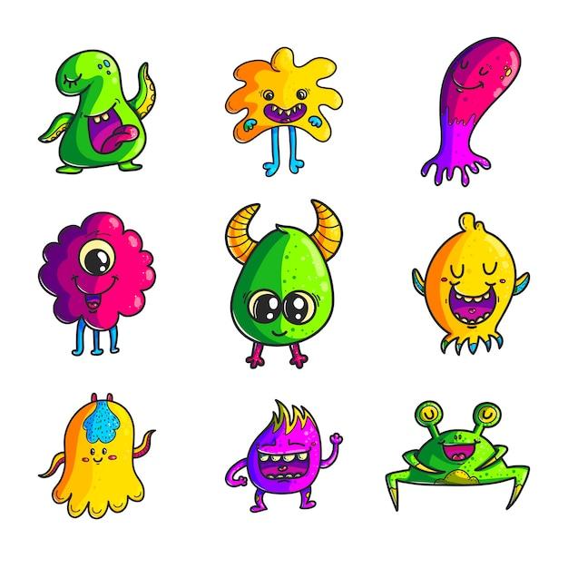 Zestaw Znaków Ręcznie Rysowane Kolor Słodkie Potwory Premium Wektorów