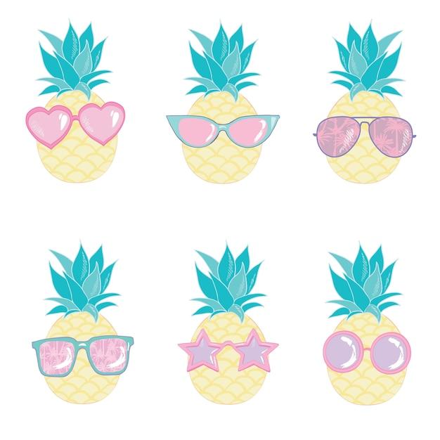 Zestaw znaków słodkie ananasa Premium Wektorów