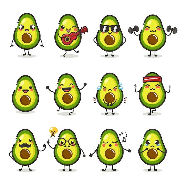 Zestaw Znaków Słodkie Owoce Awokado W Różnych Emocji Działania Premium Wektorów