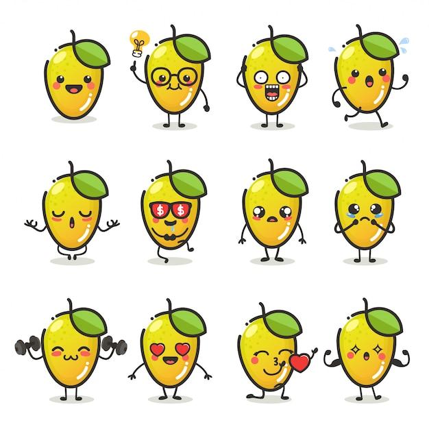 Zestaw Znaków Słodkie Owoce Mango W Różnych Emocji Działania Premium Wektorów