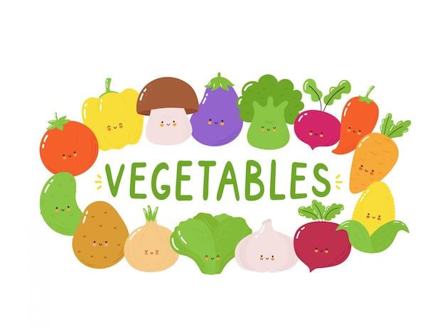 Zestaw znaków słodkie warzywa szczęśliwy. pojedynczo na białym. wektorowego postać z kreskówki ilustracyjny projekt, prosty mieszkanie styl. koncepcja transparent śmieszne warzywa Premium Wektorów