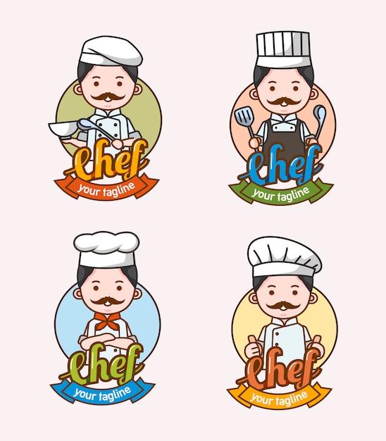 Zestaw Znaków Szefa Kuchni Człowieka Z Różnych Ubrań I Pozy Używane Do Logo I Maskotki Premium Wektorów