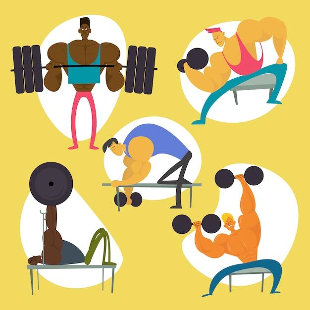 Zestaw Znaków Treningu Siłowni. Kolekcja Figurek Fitness Man. Ilustracja Wektorowa Płaskie Premium Wektorów