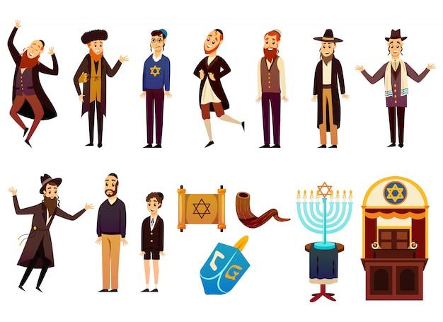 Zestaw Znaków żyd Kreskówki Darmowych Wektorów