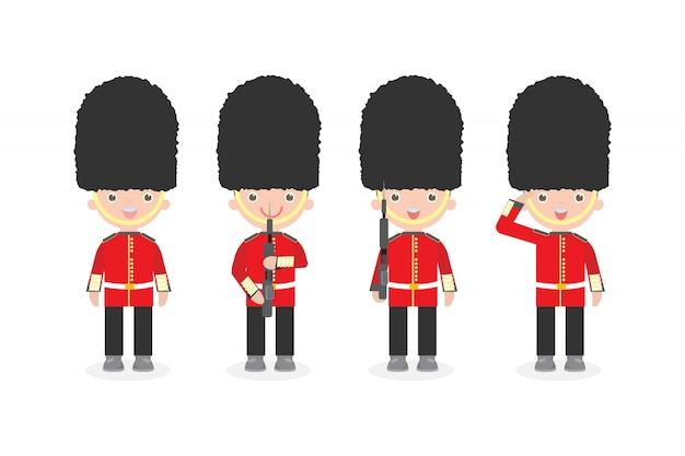 Zestaw żołnierzy Brytyjskich Z Bronią, Queen's Guard, żołnierzy Armii Brytyjskiej, Płaski Charakter Kreskówka Na Białym Tle Premium Wektorów