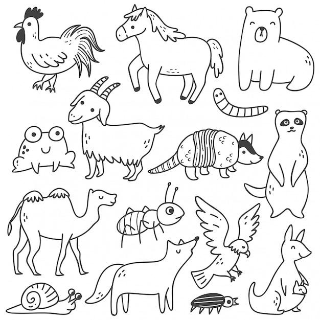 Zestaw Zwierząt Doodle Premium Wektorów