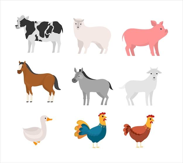 Zestaw Zwierząt Gospodarskich. Kolekcja Cute Zwierząt Domowych. Krowa I Koń, świnia I Gęś. Ilustracja Premium Wektorów
