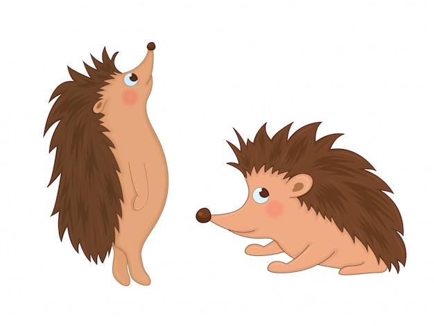 Zestaw zwierząt w wektorze na białym tle. śliczne ilustracje zwierząt kreskówek Premium Wektorów