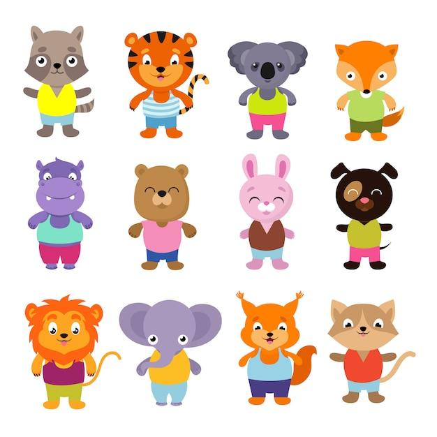 Zestaw zwierząt wektor ładny kreskówka dziecko Premium Wektorów