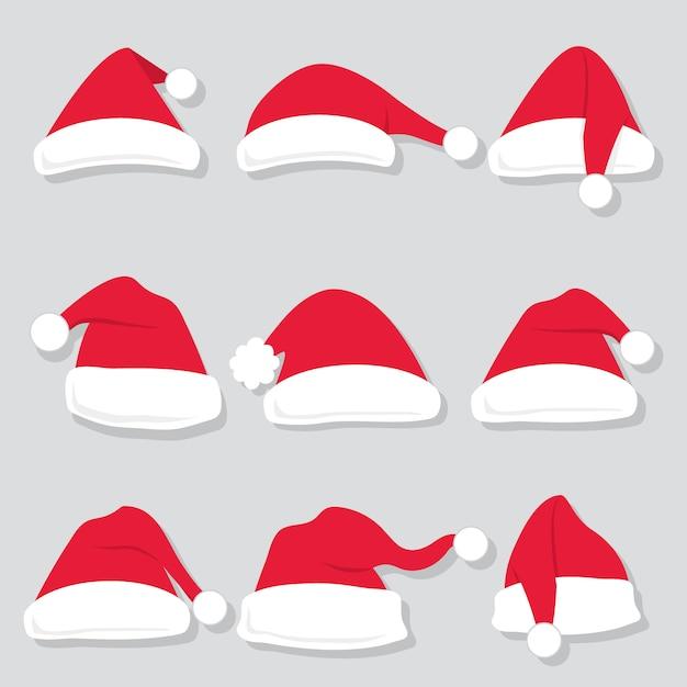 Zestawy kolekcja czapki mikołaja Premium Wektorów