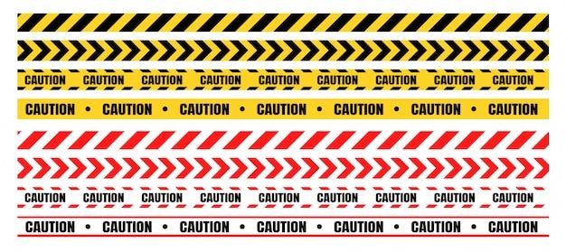 Zestawy niebezpiecznych taśm ostrzegawczych Premium Wektorów