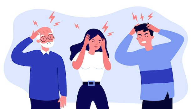 Zestresowani Ludzie Cierpiący Na Bóle Głowy Premium Wektorów