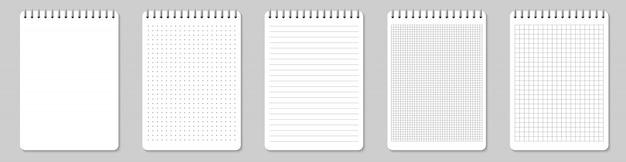 Zeszyty w linie i kropki strony papieru puste Premium Wektorów