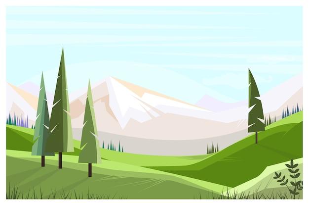 Zieleni pola z wysokimi drzewami ilustracyjnymi Darmowych Wektorów