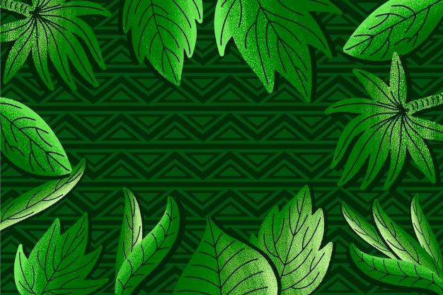 Zieleni Tropikalni Liście Na Geometrycznym Tle Darmowych Wektorów