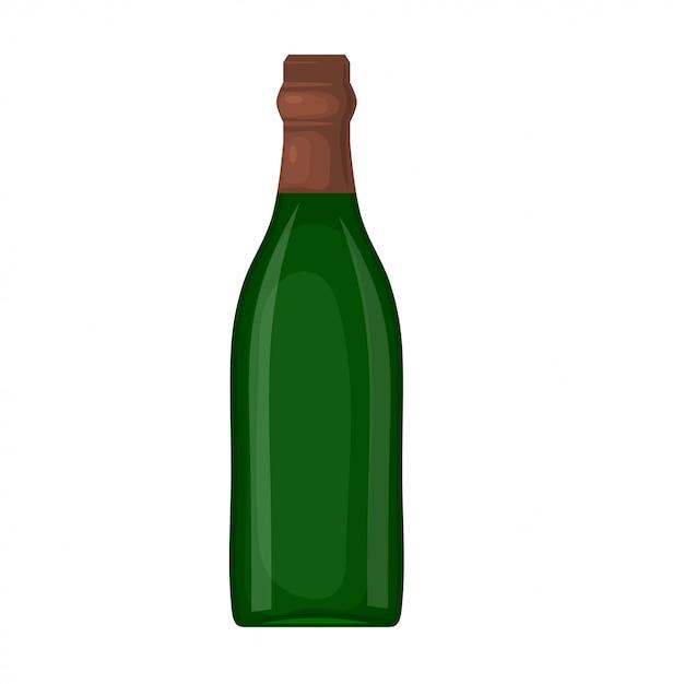 Zielona Butelka Wina Na Białym Tle. Styl Kreskówki. Temat świątecznego Stołu. Element Do Projektowania. Stockowa Ilustracja Wektorowa Premium Wektorów