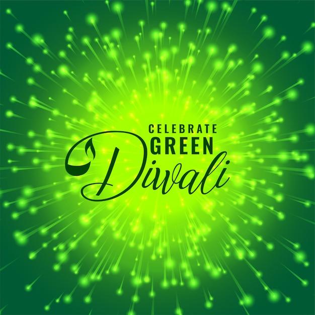 Zielona diwali fajerwerku świętowania pojęcia ilustracja Darmowych Wektorów