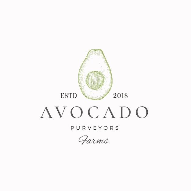 Zielona Etykieta Dostawców Awokado Premium Wektorów