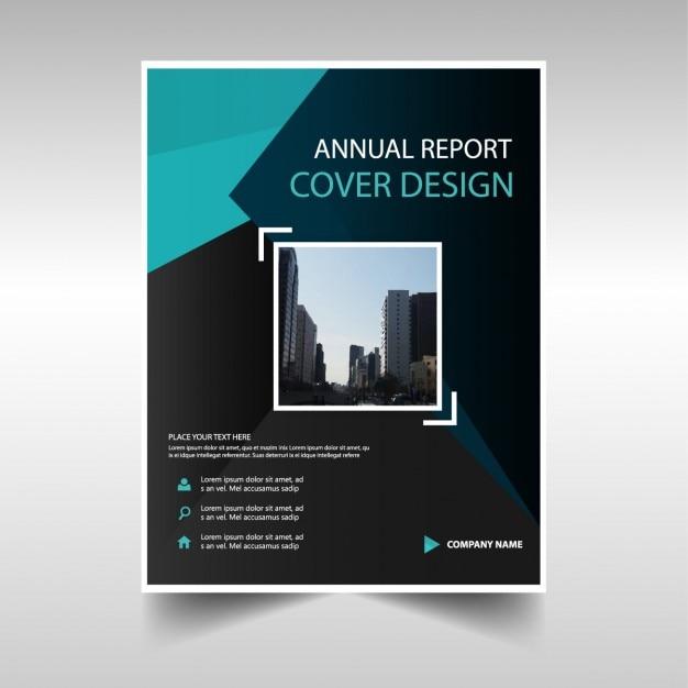 Zielona i czarna okładka książki raport roczny Darmowych Wektorów