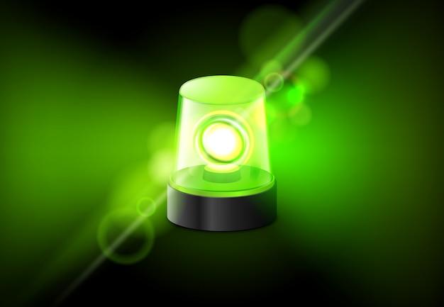Zielona Lampa Sygnalizacyjna. Pilny Karetka Syreny Alarmowy Tło Premium Wektorów