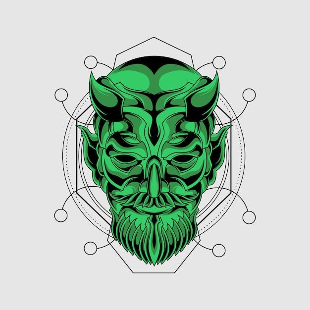 Zielona maska demona o świętej geometrii Premium Wektorów