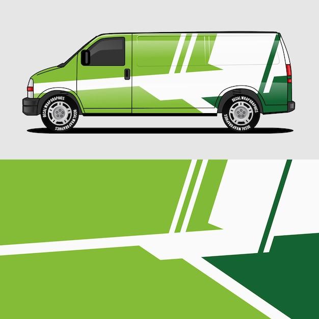 Zielona naklejka do owijania folia i wzór kalkomanii Premium Wektorów