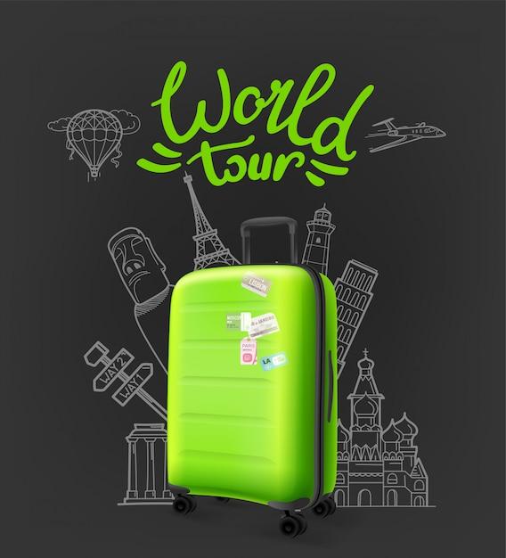 Zielona Nowoczesna Plastikowa Walizka Z Napisem Logo. Koncepcja światowej Trasy Koncertowej Premium Wektorów