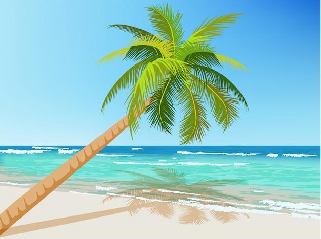 Zielona Palma Rosnąca Nad Błękitnym Morzem. Fale Na Wodzie Darmowych Wektorów
