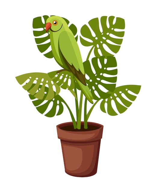 Zielona Papuga Siedzi Na Roślinie Doniczkowej. Ilustracja Na Białym Tle. Premium Wektorów