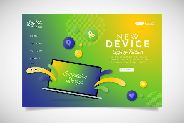 Zielona Strona Docelowa Z Laptopem Z Gradientem Darmowych Wektorów