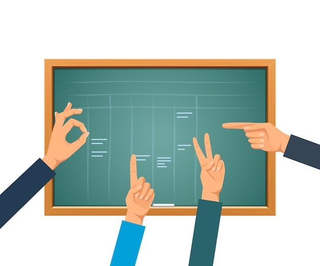 Zielona Tablica Szkolna Do Szkolenia, Ręce Na Tle Pustej Zielonej Tablicy Premium Wektorów