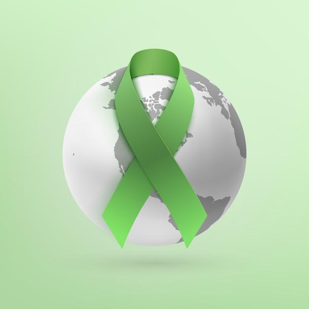 Zielona Wstążka Z Ikoną Ziemi Monochromatycznej Na Białym Tle Na Zielonym Tle. Premium Wektorów
