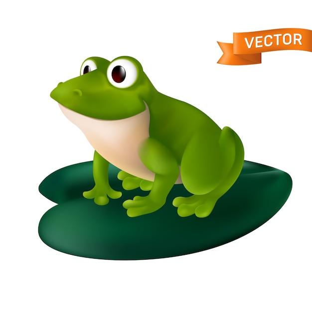 Zielona żaba Kreskówka Z Dużymi Oczami Siedzi Na Zielonym Liściu Lilii Wodnej. Na Białym Tle Na Białym Tle Premium Wektorów