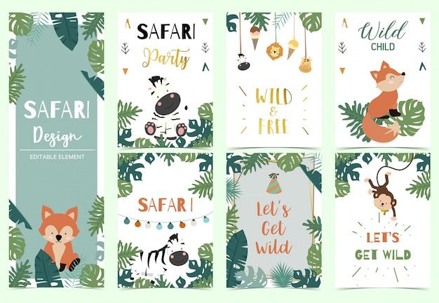 Zielona, złota kolekcja zestawu tła safari Premium Wektorów