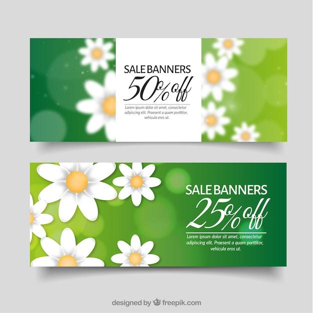 Zielone Banery Sprzedaż Wiosna Wiosenny Darmowych Wektorów