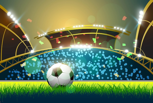 Zielone Boisko Do Piłki Nożnej, Jasne Reflektory Premium Wektorów