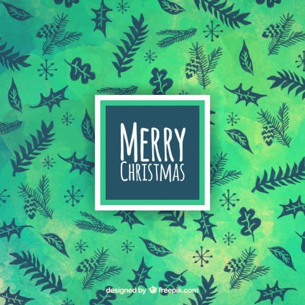 Zielone Boże Narodzenie Tła Z Liśćmi Darmowych Wektorów