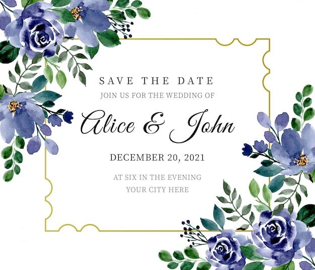Zielone i niebieskie zaproszenie na ślub z kwiecistą akwarelą Premium Wektorów