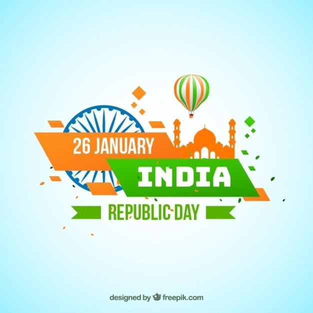 Zielone i pomarańczowe tło dla indian dzień republiki Darmowych Wektorów