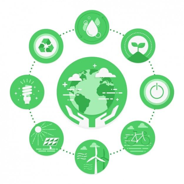 Zielone Ikony środowiska Darmowych Wektorów