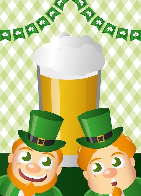 Zielone krasnoludki z piwem, happy st patricks day Darmowych Wektorów