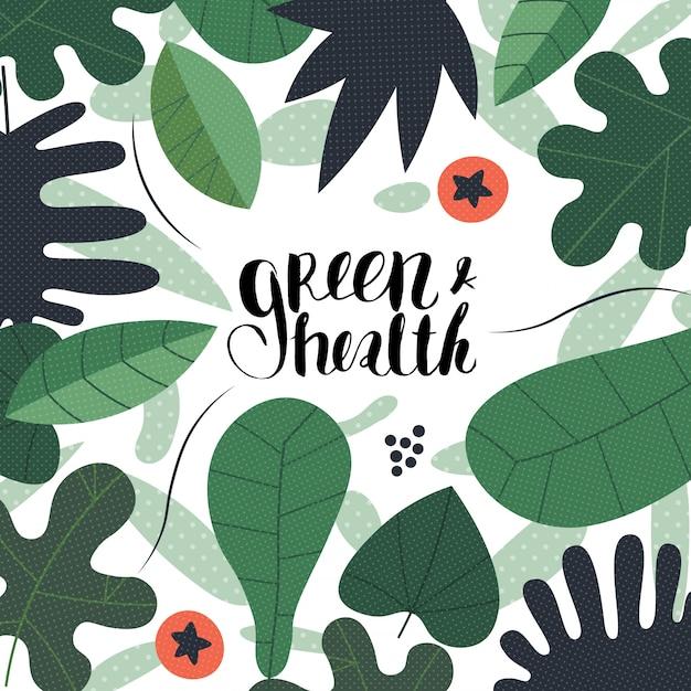 Zielone Liście Z Napisem Green And Health Premium Wektorów