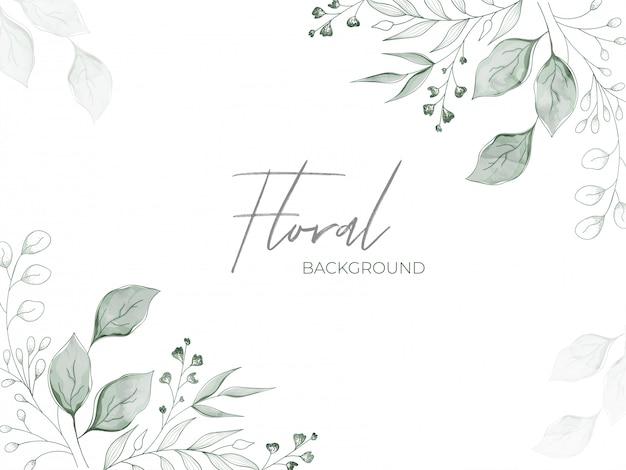 Zielone Pąki Kwiatowe Z Efektem Akwareli I Liście Zdobione Białymi Kwiatowymi Kwiatami. Premium Wektorów