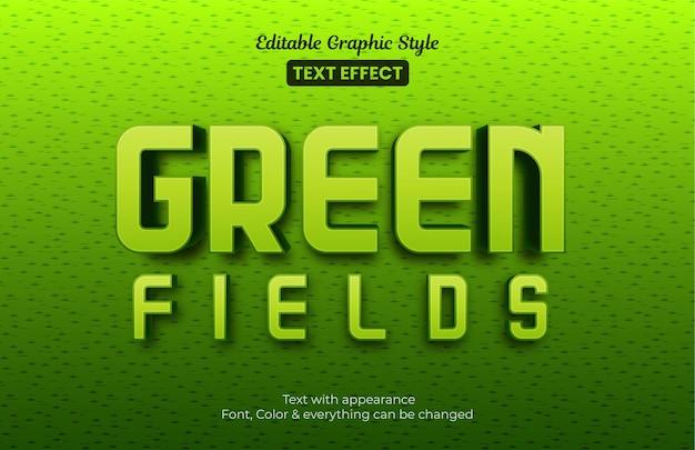 Zielone Pola, Edytowalny Efekt Tekstowy Stylu Graficznego Premium Wektorów