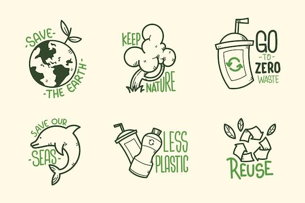 Zielone Ręcznie Rysowane Ekologia Odznaki Premium Wektorów