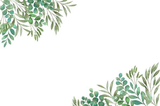 Zielone Rośliny I Liście Kopiują Przestrzeń Premium Wektorów