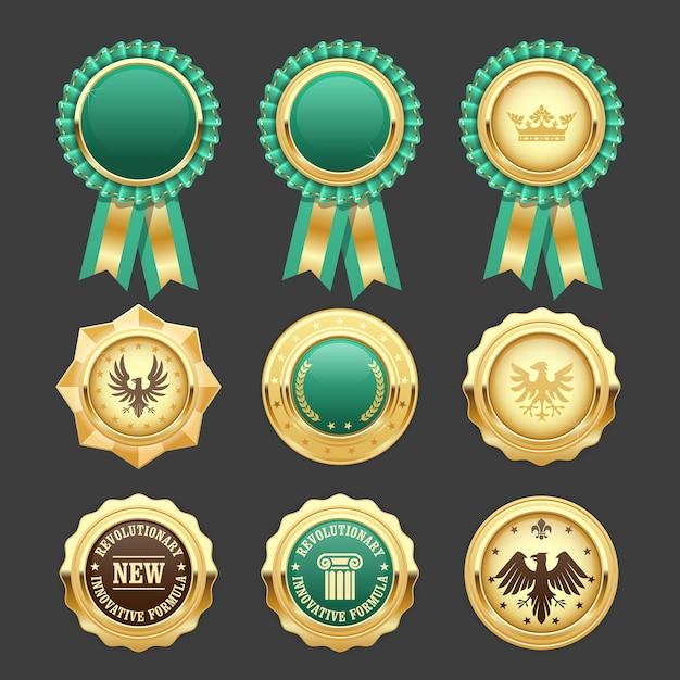 Zielone Rozety I Złote Medale - Insygnia Nagród Premium Wektorów